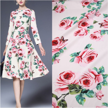 100X145cm Fashion Week Runway Pink Rose Flowers Butterflies Stretch White Polyester Fabric Woman Spring Summer Dresses DIY-AF356