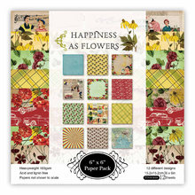 KLJUYP 12 Sheets Happiness As Flowers Scrapbooking Pads Paper Origami Art Background Paper Card Making DIY Scrapbook Paper Craft(China)
