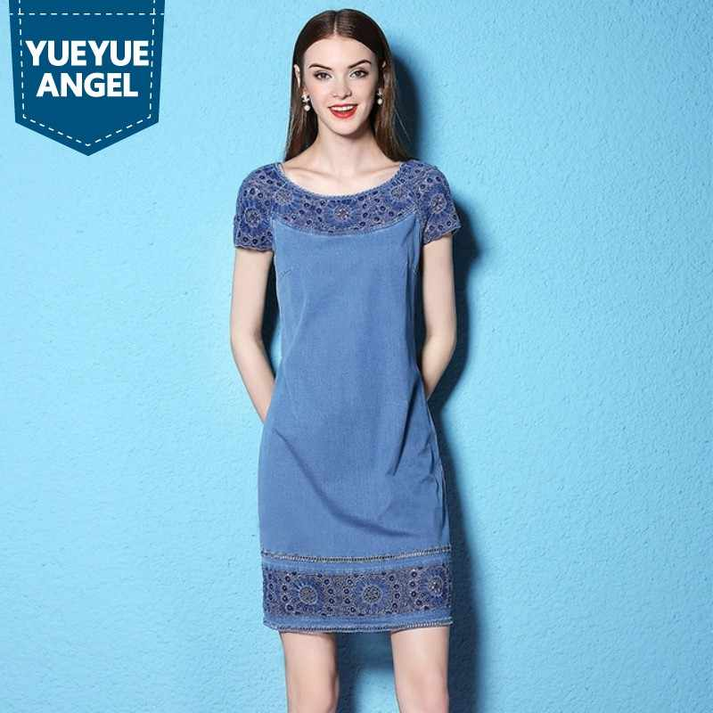 ce1e54944e 2019 Women Summer Denim Dress Jeans O-Neck Short Sleeve Cotton Lace  Embroidery Denim Dresses