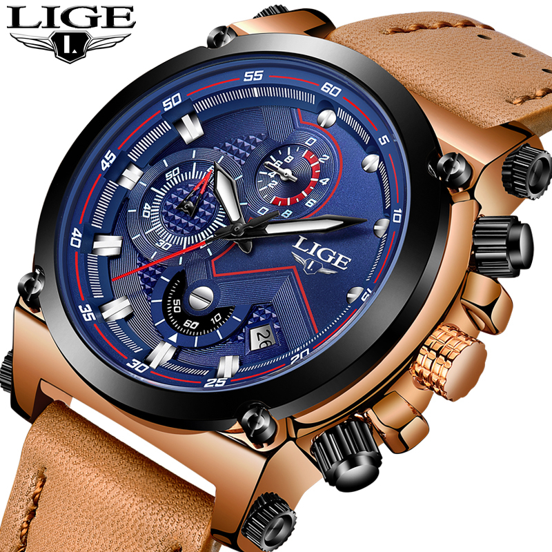 LIGE Watch Men's Fashion Sports Quartz Big Dial Clock Leather Mens Watches Top Brand Luxury Waterproof Watch Relogio Masculino new listing men watch luxury brand watches quartz clock fashion leather belts watch cheap sports wristwatch relogio male gift