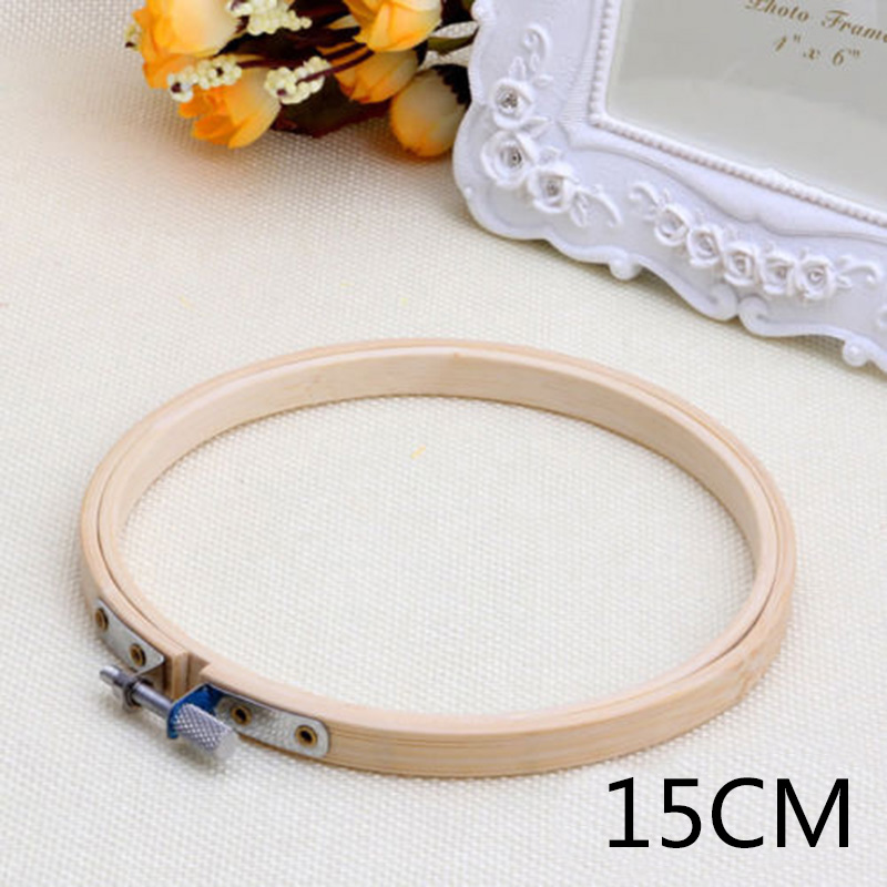 Embroidery Circle Set Hoops Cross Hoop Ring Wooden Round Adjustable Bamboo Ho ZC
