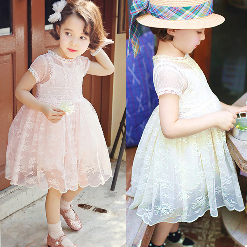 Anlencool/корейский детская одежда оптовая продажа корейских детей кружевное платье новое летнее платье принцессы для девочки Для детей возрас...