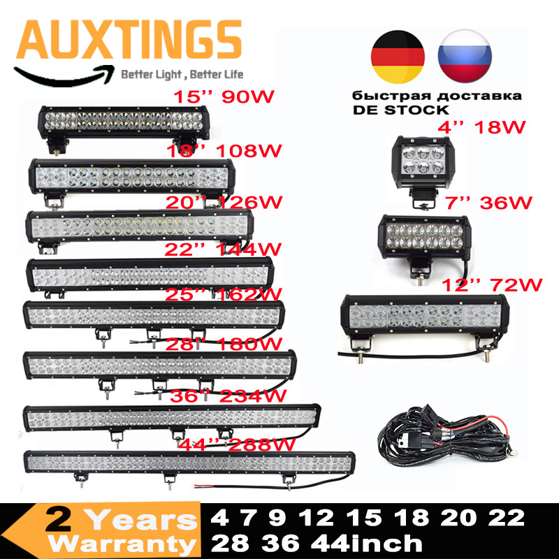 Led Light Bar 4 7 9 12 15 18 20 22 25 28 36 44 Inch 4x4 Work Led Bar Offroad SUV ATV 18W 36W 54W 72W 90W 108W 126W 144W 162W