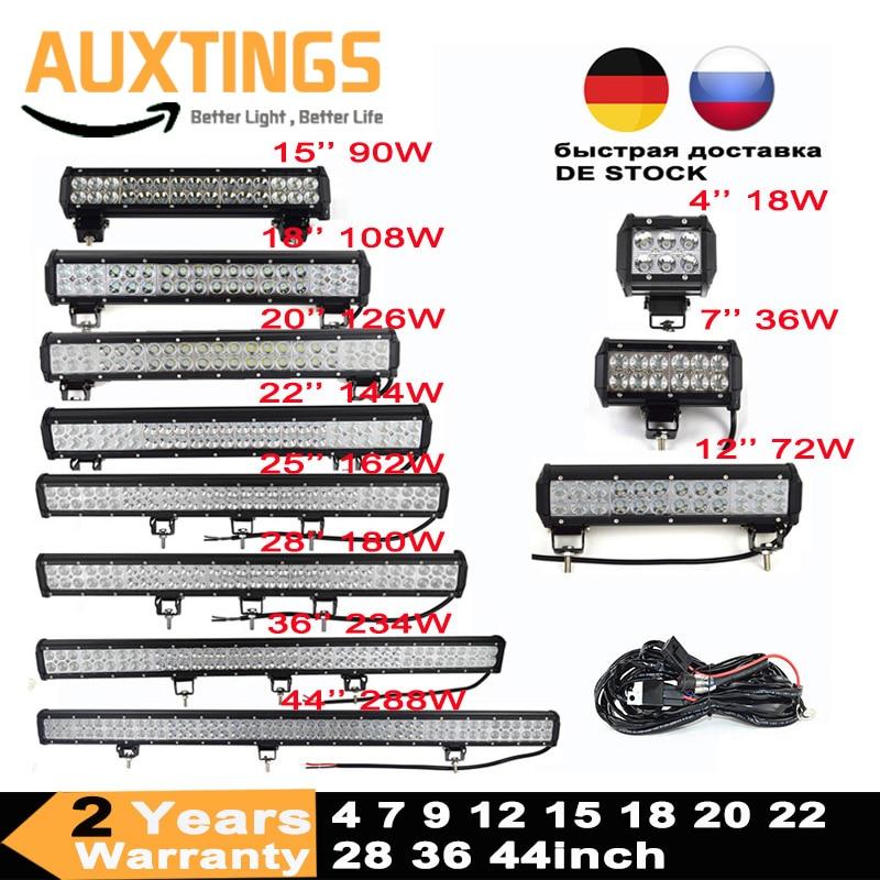 Led Light Bar 4 7 9 12 15 18 20 22 25 28 36 44 Inch 4x4 Work Led Bar Offroad SUV ATV 18W 36W 54W 72W 90W 108W 126W 144W 162W