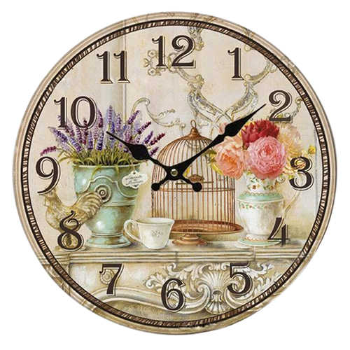 Floral Vintage Shabby Chic Style 34cm Wall Clock Home Bedroom Kitchen Quartz (Pattern:flower+birds)
