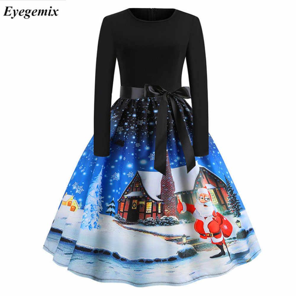 faf8dc2ae70b Vintage Print Christmas Dresses Women Fashion 50S 60S Long Sleeve Party Swing  Dress Ladies Plus Size