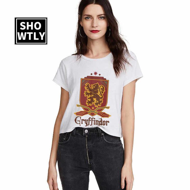 Gryffondor impression lettres femmes t-shirt lâche graphique t-shirts harajuku t-shirt pour 2019 été t-shirt femme col rond