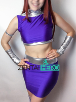 Free Shipping DHL Two Pieces Purple Lycra DC Comics Starfire From Teen Titans Superhero Costume Halloween