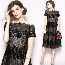 2018 Summer New Womens Gauze Stitching Slim Naked Color Collar Long Lace A Dress vestidos