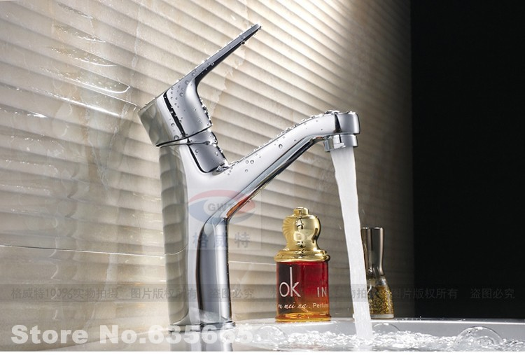 Tall Contemporary Chrome Bathroom Vessel Sink Faucet: Single Lever Bathroom Lavatory Basin Vessel Sink Mixer Tap