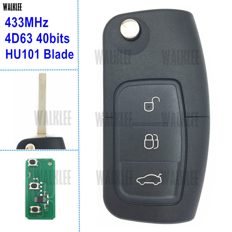 WALKLEE Car Alarm Remote Key 433MHz work for Ford Mondeo Focus Fusion Fiesta Galaxy HU101 Blade 4D63 40Bits Chip 3 Buttons