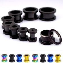 1Pair 316L Stainless steel Ear Tunnel Plug GaugesFlesh Body Piercing Ear Reamer Expander stretching 3mm-25mm