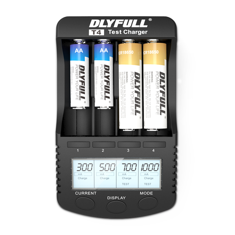DLYFULL T4 18650 Charger LCD 1.2V 3.7V AA AAA AAAA 26650 14500 16340 18350 18500 10440 NiMH NICD li-ion Smart battery Charger
