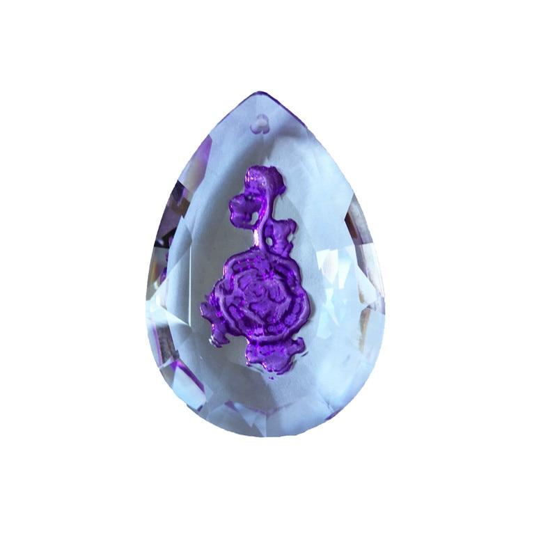 100pcs Lot 50mm Light Purple Glass Chandelier Parts Inside Carving Rose Suncatcher Prism Pendants For Diy