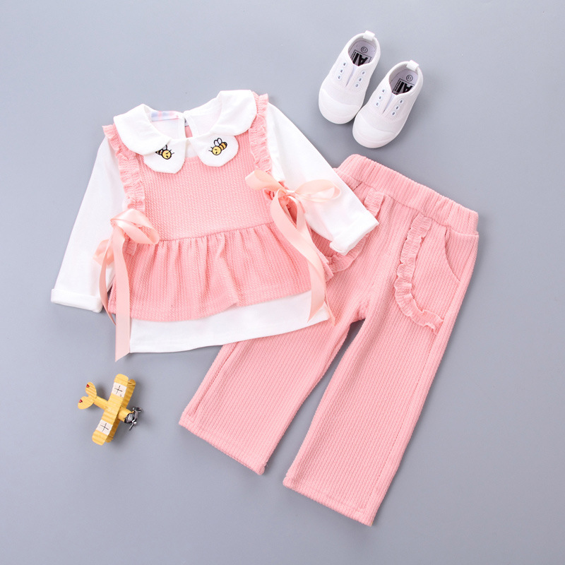 spring autumn elegant korean fashion little girls set clothes 2017 fall newborn clothing for 3 piece Infant kids baby girl sets azel elegant latest new child dress for 2 3 year old girls vestidos fashion summer kid clothing little girls daily clothes 2017