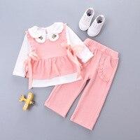 spring autumn elegant korean fashion little girls set clothes 2017 fall newborn clothing for 3 piece Infant kids baby girl sets