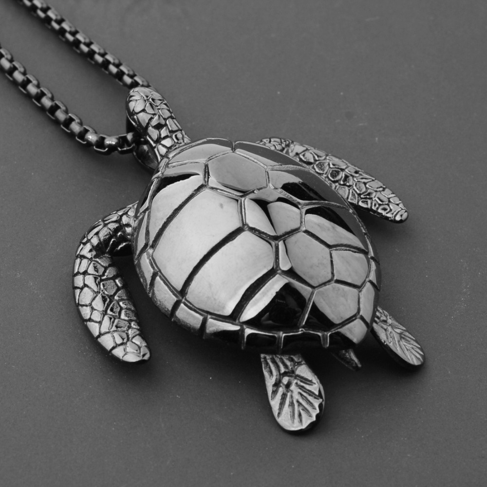 New Personality Design Heavy Sea Turtle Pendant Necklace Jewelry 316L Stainless Steel Link Black Men's Women's Jewelry Box Chain
