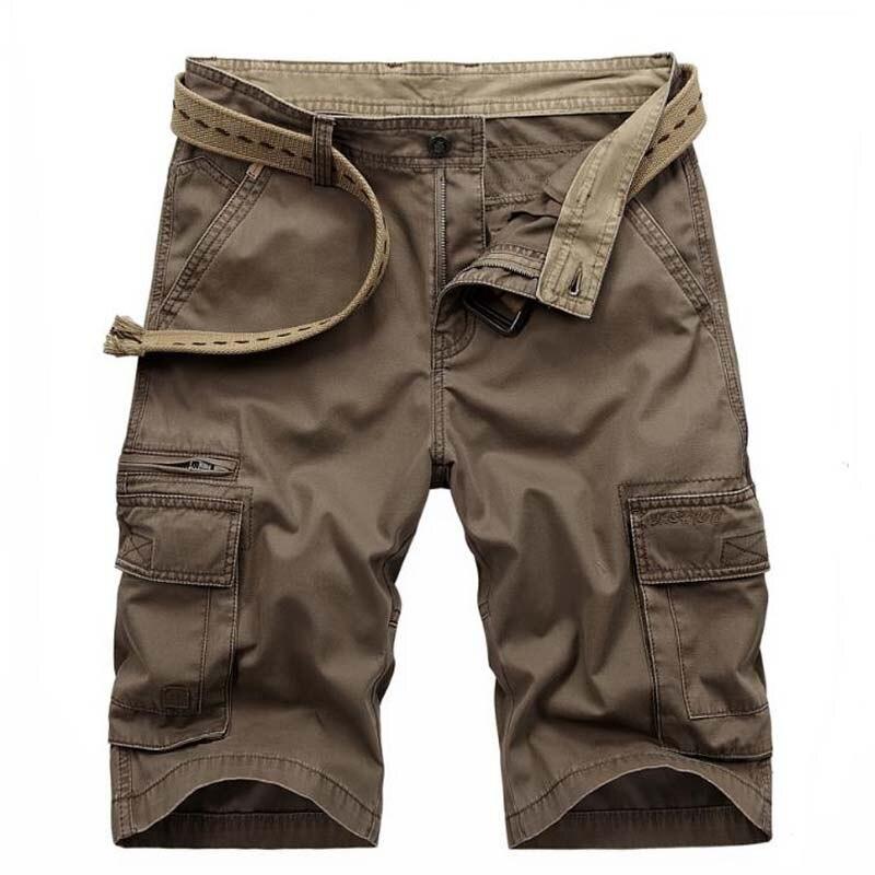 ZHAN DI JI PU Summer Knee length Shorts Men Beach Leisure Shorts Mens CARGO Casual Short Trousers Loose Man Clothing Plus Size