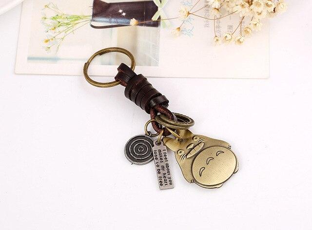 Totoro Meng Chong Punk Leather Key Chain