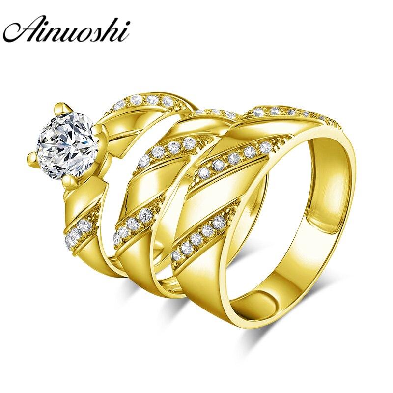 AINUOSHI 8,3 г настоящее золото трио кольца 10 К желтого золота обручальное кольцо для пары комплект твил дизайн любителей обручение свадебные ко