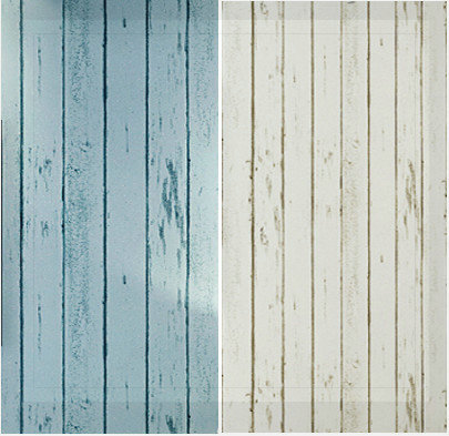 Home Decor Blue White Wood Panel Non Woven Wallpaper Roll Natural Rustic Swood Woodboard
