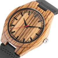 Nature Zebra Stripe Bamboo Wood Quartz Analog Watch With Geniune Leather For Men Women Watch Relogio