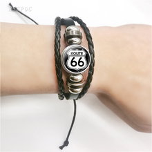 Fashion Route 66 Highway Road Travel Sign Black Button Woven Leather Bracelet Glass Cabochon Jewelry Traveler Gift