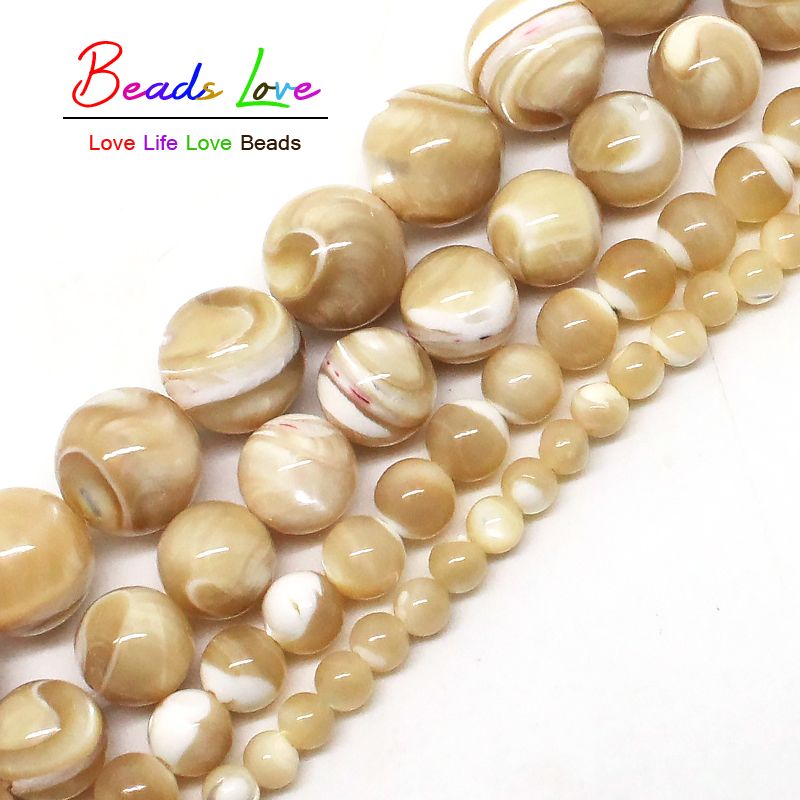 Natural Trochus Shell Stone 4/6/8/10 Mm Round Loose Beads 15inches/strand For Women Jewelry Making DIY Bracelet Necklace(F00578)