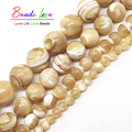 Trochus Shell Piedra Natural 4/6/8/10mm Granos Flojos Redondos 15 pulgadas/strand las mujeres de la joyería Que Hace DIY Pulsera Collar (F00578)