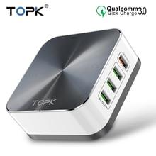 TOPK 8   Port quick charge 3.0 ชาร์จโทรศัพท์สำหรับ iPhone Xiaomi huawei fast charging usb EU US UK ปลั๊กอะแดปเตอร์เดสก์ท็อป