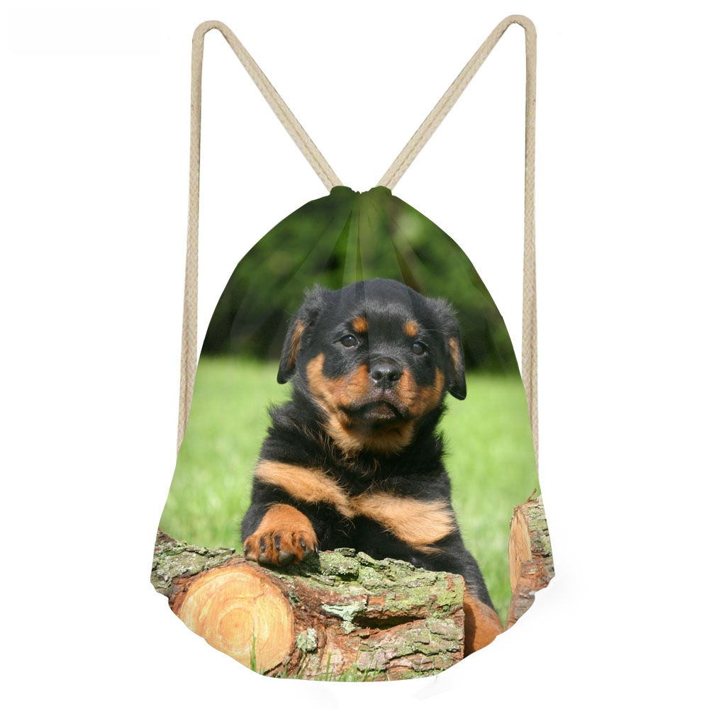 ThiKin Cute Puppy Rottweiler Print Drawstring Bags For Men Casual Large Softback Beach Sack Fashion Students Boys Backpacks