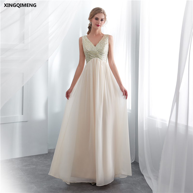 in stock champagne sequins chiffon bridesmaid dress