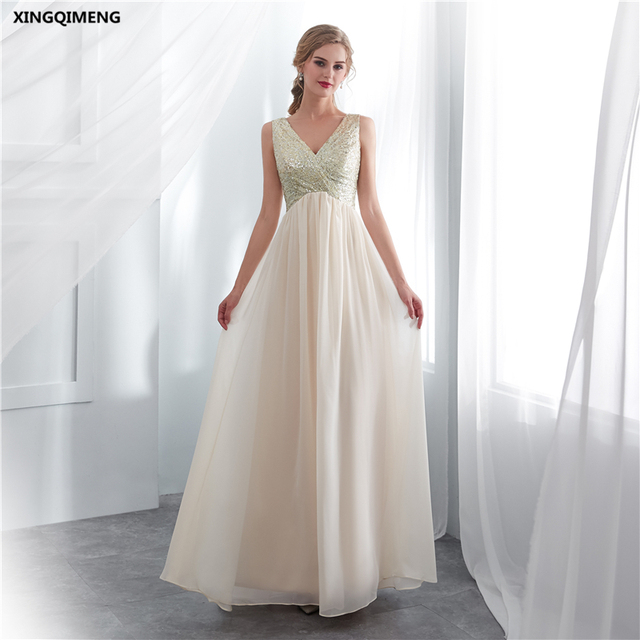 In Stock Champagne Sequins Chiffon Bridesmaid Dress Elegant High Quality Wedding Guest Y Simple