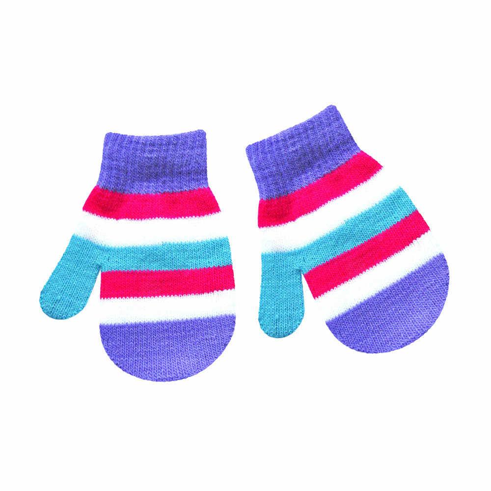 חמוד תינוקות תינוק ססגוניות הדפסת חם בנות בנים של חורף חם כפפות ילדי כפפות כותנה רך סריגה חם כפפות אופנה 1-5