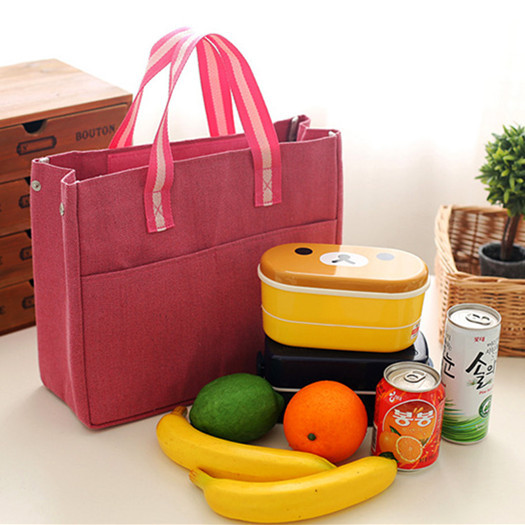 Handbag Canvas Lunch Bag Drink Food Thermal Ice Cooler Women Kid Picnic Bento Box Insulated Pack Leisure Accessories Supplies