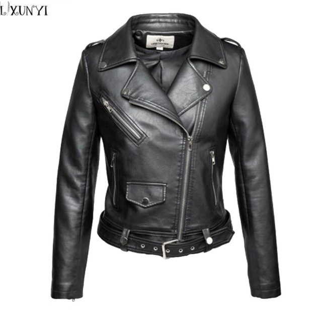 2XL 3XL 4XL Female leather jackets New 2017 Spring Fall Short Slim Black Women Motorcycle jacket Plus Size Clothes leather Coat