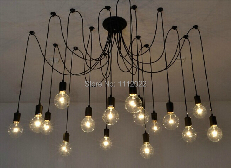 2016 New Vintage Pendant Lamps Loft Retro Bulbs Chandelier Lamp Hanging Lights Creative Spider Lighting Fixture Free Shipping In From