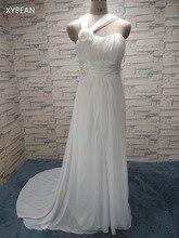 2015 New Halter Straps Handmade Flower Chiffon Beach White Ivory Wedding Dresses FS013