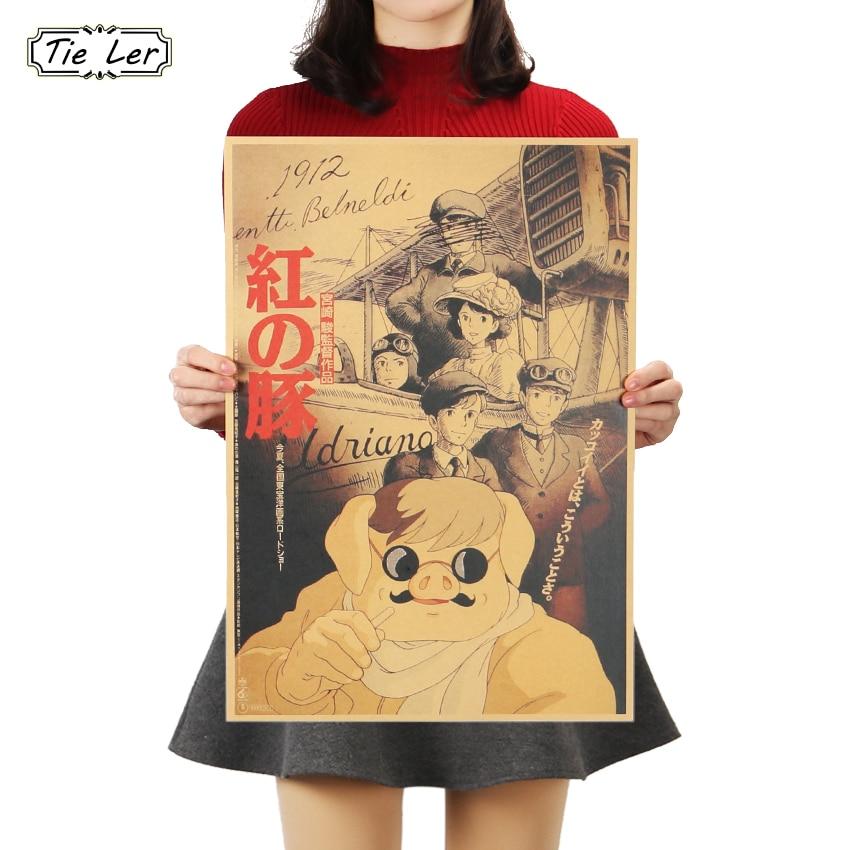 TIE LER Miyazaki Hayao Red Pig Classic Cartoon Movie Kraft Paper Poster Decoration Painting Wall Stickers 36 X 51.5cm(China)