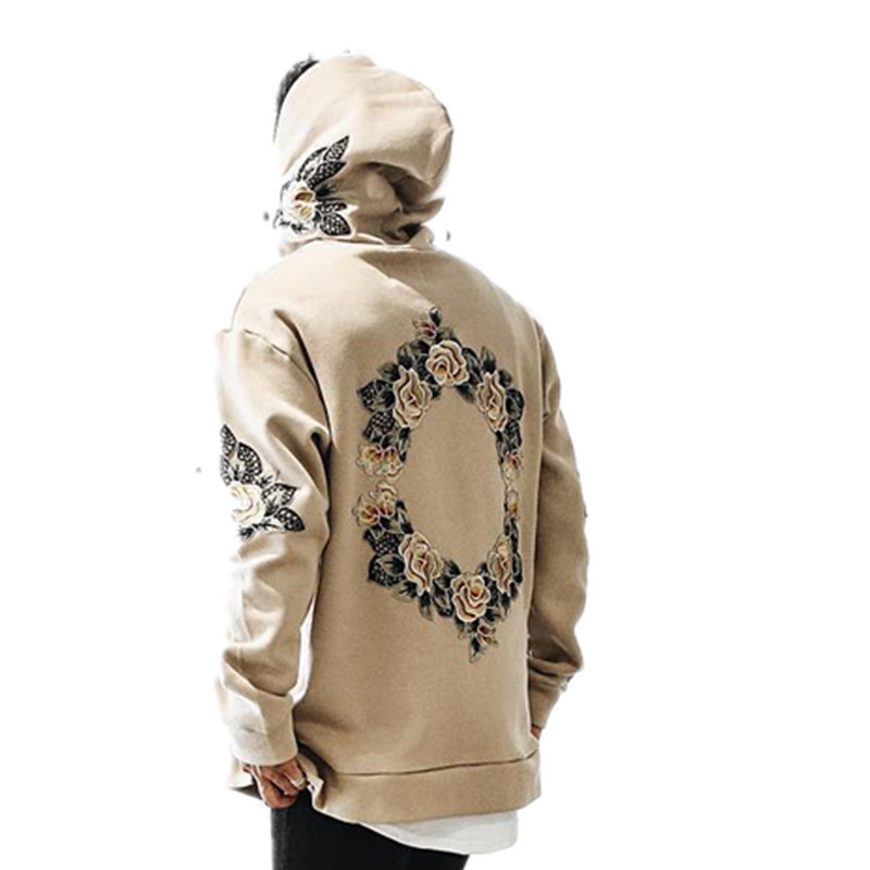 New design flower embroidery hoodies men hip hop side