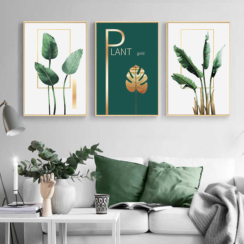 Green Plant Golden Leaf Wall Art Canvas Painting Nordic Posters and Prints Wall Pictures for Living Room Scandinavian Home Decor