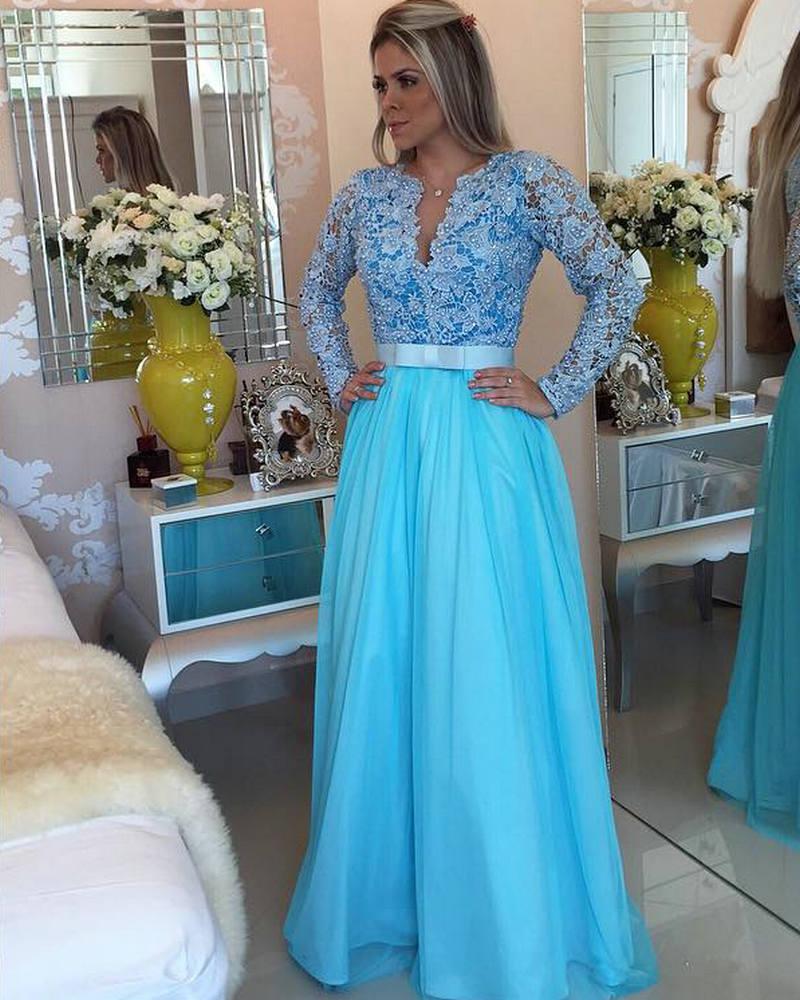 Turquoise Party Dress Full Sleeves 2016 Long Custom Eveing Dress ...