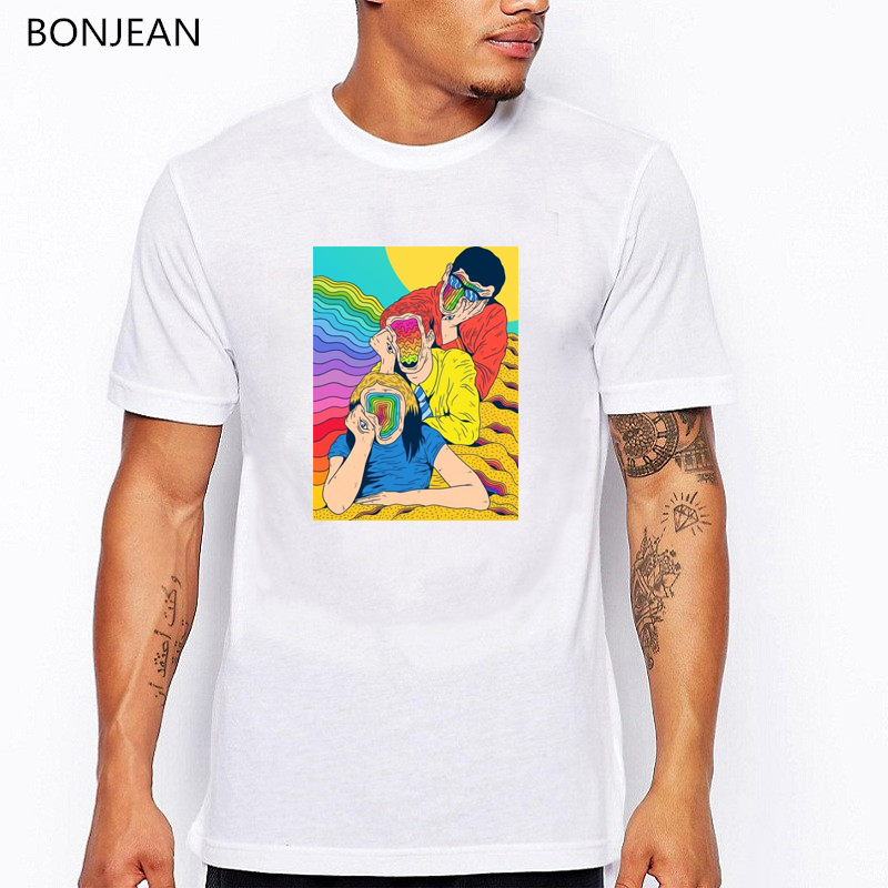 LGBT t shirts men surreal t shirt watercolor print tee shirt homme psychedelic aesthetic clothes creative tumblr tshirt tops in T Shirts from Men 39 s Clothing