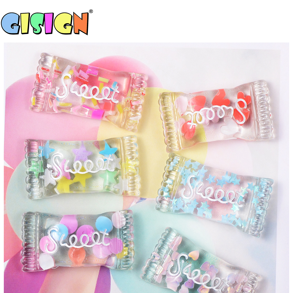 6Pcs Crystal Candy Addition For Slime Fluffy Accessories Charms  Antistress DIY Bead Toys  For Soft Modeling Clay Slime Kit