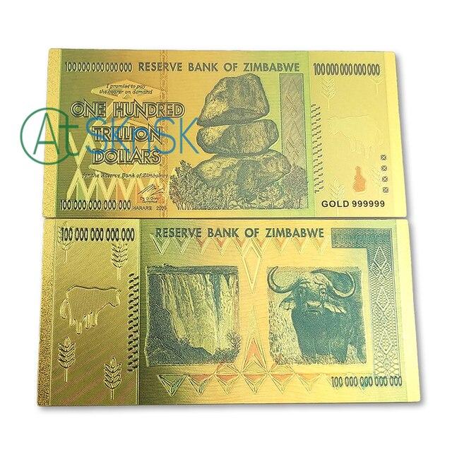 10pcs Lot Gold Foil Banknote Colorful Zimbabwe One Hundred Trillion Dollars Commemorative Bills For Souvenir