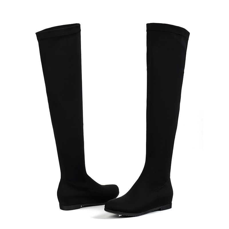 Streç Kumaş Çizmeler Ayakkabı Kadın Yumuşak Bayan Uyluk Yüksek Uzun Patik El Yapımı Yüksekliği Artan Kadın Topuk Ayakkabı Artı Boyutu 41