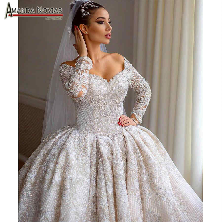 Luxury full beading wedding dress 2019 with full sleeves bridal dress real work amanda novias