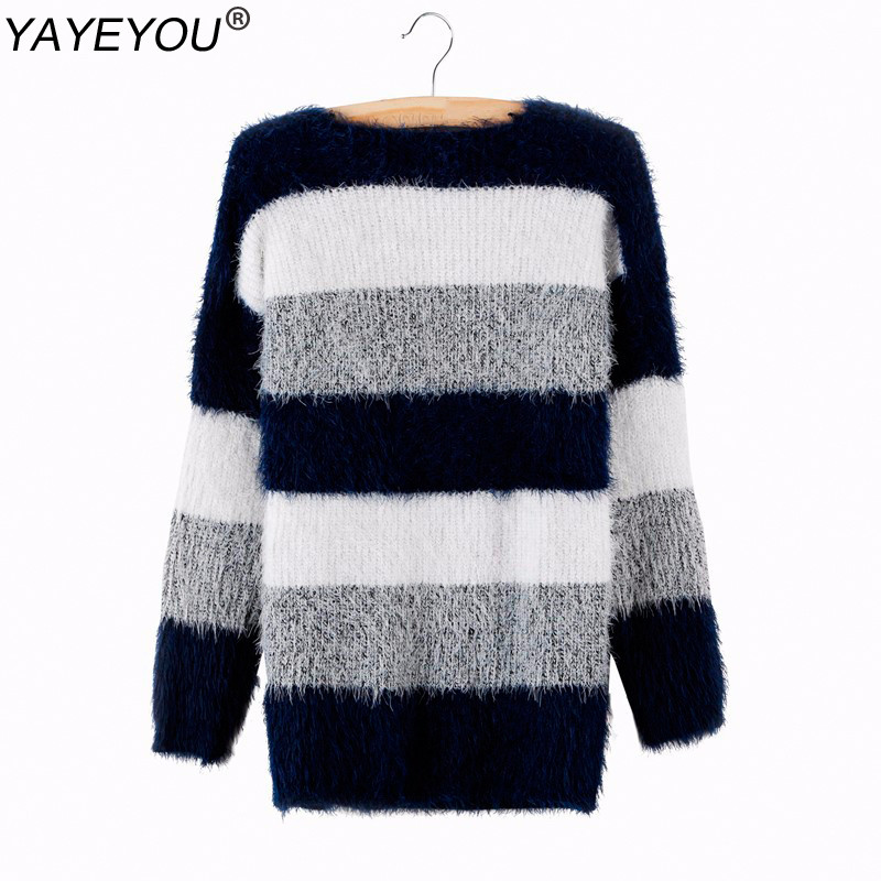 YAYEYOU Plus Size Winter Women Striped Pullover Crochet Sweater Casual Tops Warm Knitted Jumper Handsome Maternity Sweaters