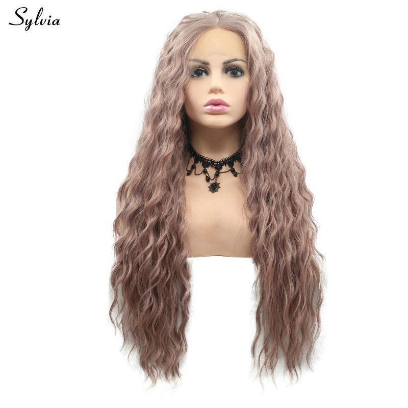 Sylvia Dirty Pink Synthetic Hair For Women Cosplay Long Water Wave Lace Front Wigs For Drag