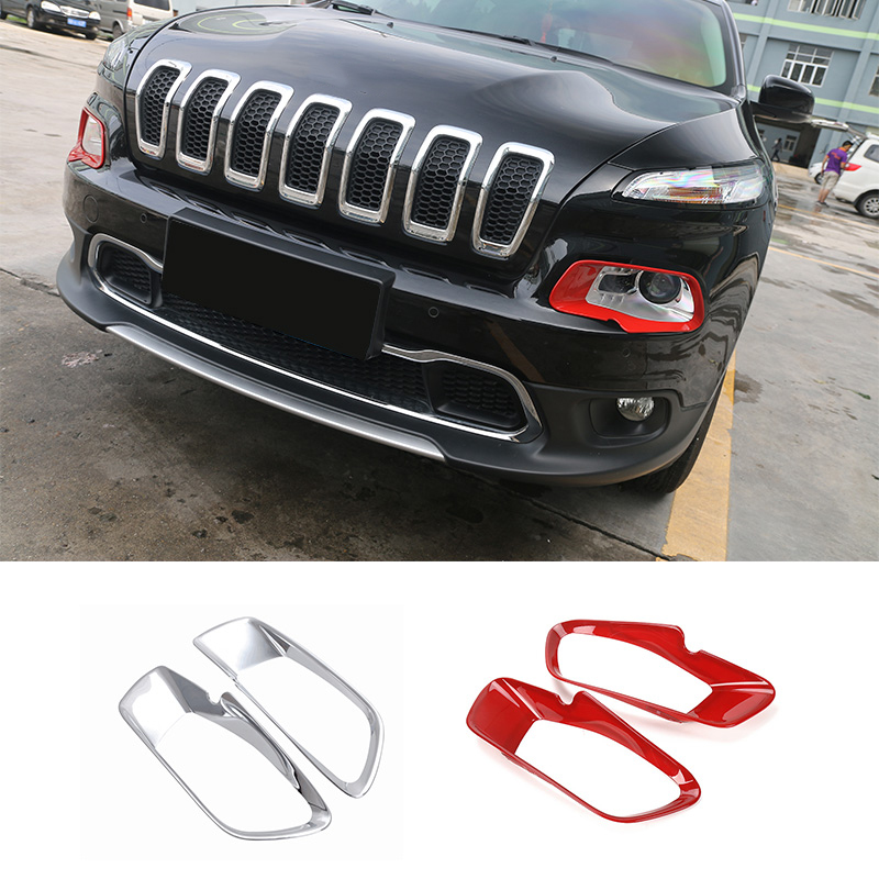 SHINEKA Exterior ABS Front Headlight Lamp Eyebrow Decoration Cover Trim Stickers For Jeep Cherokee 2015 2016 2017 2018